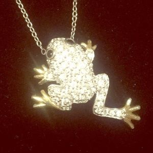 Jewelry - Crystal Frog Necklace .925 Italy Stamped